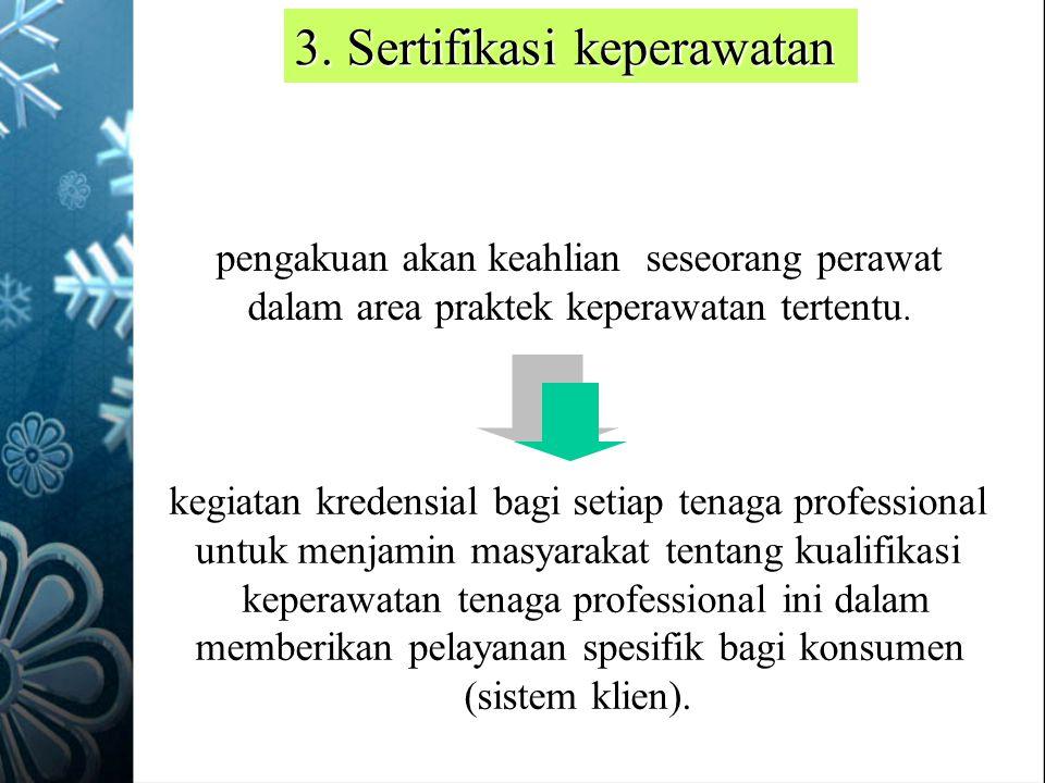 kegiatan kredensial bagi setiap tenaga professional untuk menjamin masyarakat tentang kualifikasi keperawatan tenaga professional ini dalam memberikan