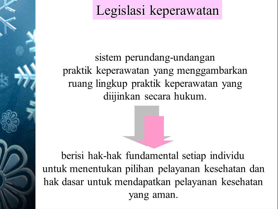 Legislasi keperawatan sistem perundang-undangan praktik keperawatan yang menggambarkan ruang lingkup praktik keperawatan yang diijinkan secara hukum.