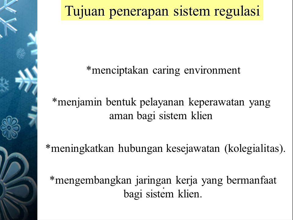Tujuan penerapan sistem regulasi *menciptakan caring environment *menjamin bentuk pelayanan keperawatan yang aman bagi sistem klien *meningkatkan hubu