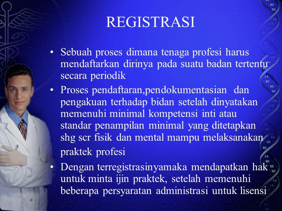 REGISTRASI Sebuah proses dimana tenaga profesi harus mendaftarkan dirinya pada suatu badan tertentu secara periodik Proses pendaftaran,pendokumentasia
