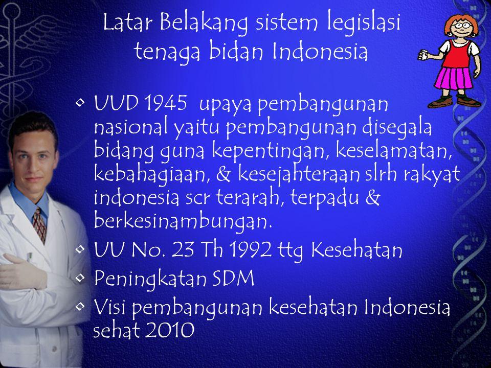 Latar Belakang sistem legislasi tenaga bidan Indonesia UUD 1945 upaya pembangunan nasional yaitu pembangunan disegala bidang guna kepentingan, keselam