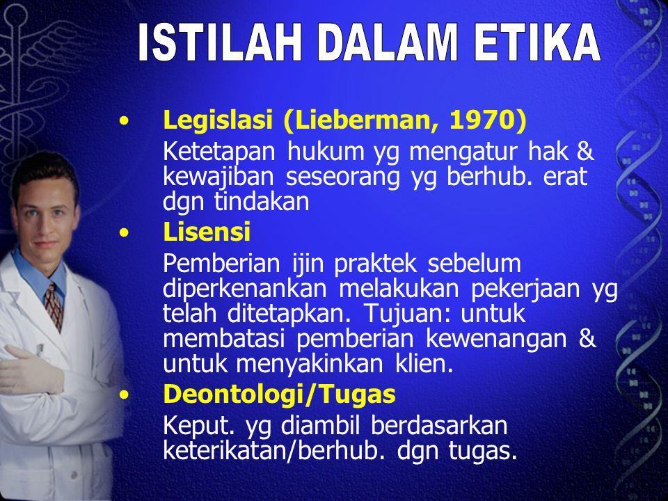 Legislasi (Lieberman, 1970) Ketetapan hukum yg mengatur hak & kewajiban seseorang yg berhub. erat dgn tindakan Lisensi Pemberian ijin praktek sebelum