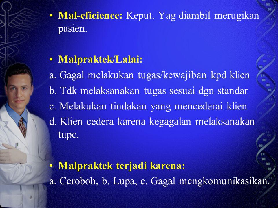 Mal-eficience: Keput. Yag diambil merugikan pasien. Malpraktek/Lalai: a. Gagal melakukan tugas/kewajiban kpd klien b. Tdk melaksanakan tugas sesuai dg