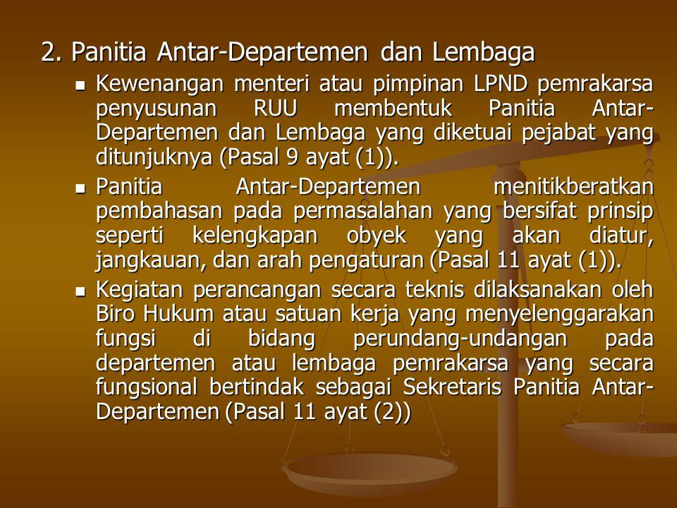 2. Panitia Antar-Departemen dan Lembaga Kewenangan menteri atau pimpinan LPND pemrakarsa penyusunan RUU membentuk Panitia Antar- Departemen dan Lembag