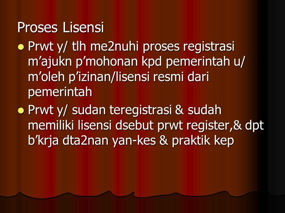 Proses Lisensi Prwt y/ tlh me2nuhi proses registrasi m'ajukn p'mohonan kpd pemerintah u/ m'oleh p'izinan/lisensi resmi dari pemerintah Prwt y/ tlh me2