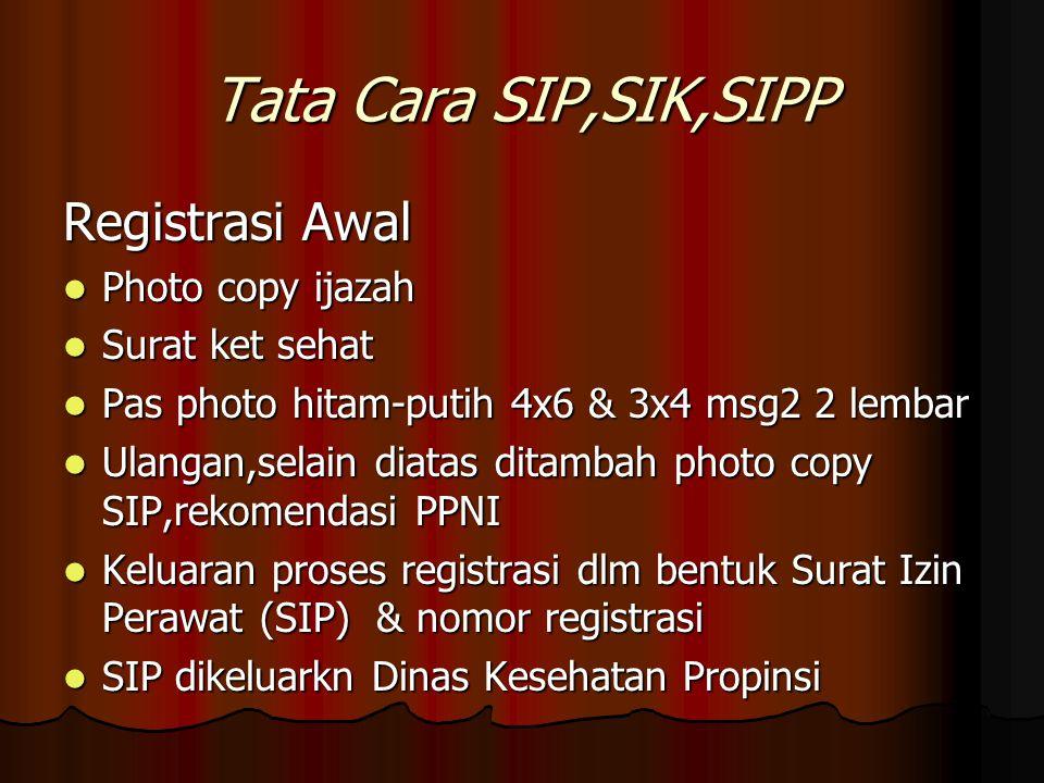 Tata Cara SIP,SIK,SIPP Registrasi Awal Photo copy ijazah Photo copy ijazah Surat ket sehat Surat ket sehat Pas photo hitam-putih 4x6 & 3x4 msg2 2 lemb