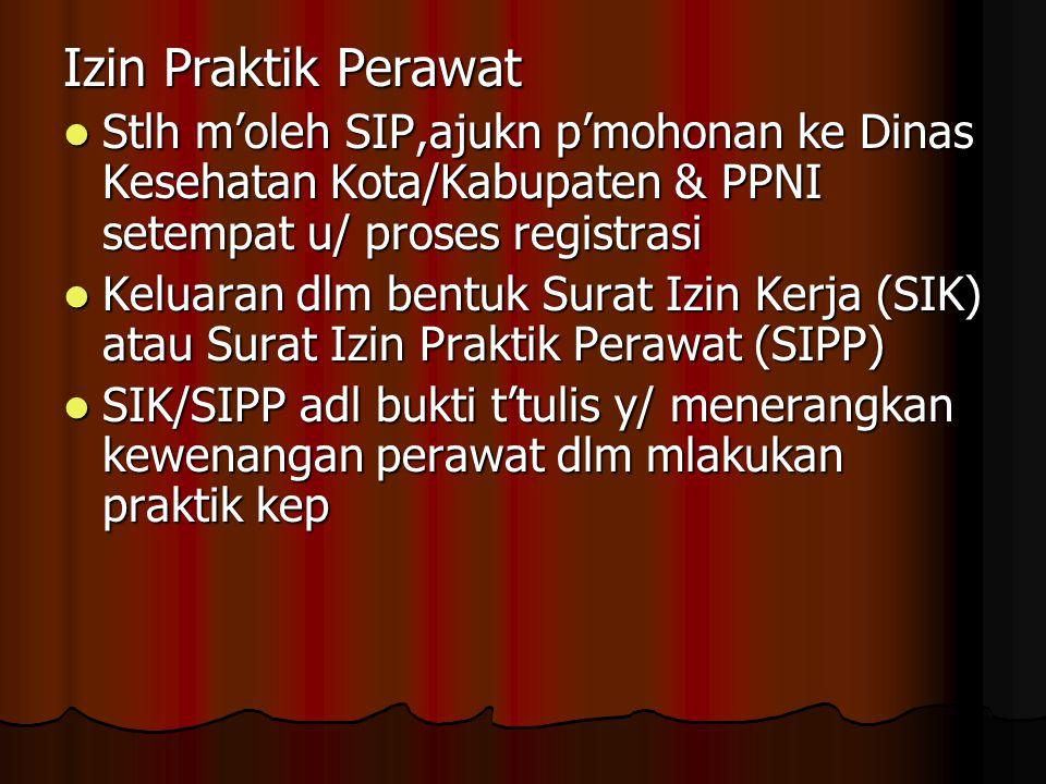 Izin Praktik Perawat Stlh m'oleh SIP,ajukn p'mohonan ke Dinas Kesehatan Kota/Kabupaten & PPNI setempat u/ proses registrasi Stlh m'oleh SIP,ajukn p'mo