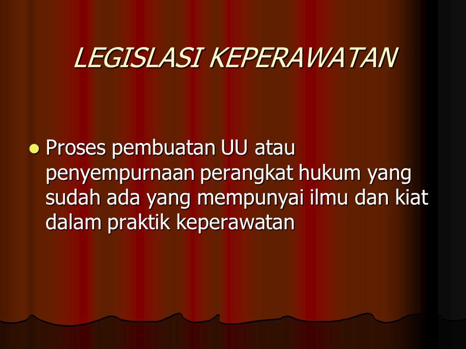 LEGISLASI KEPERAWATAN Proses pembuatan UU atau penyempurnaan perangkat hukum yang sudah ada yang mempunyai ilmu dan kiat dalam praktik keperawatan Pro