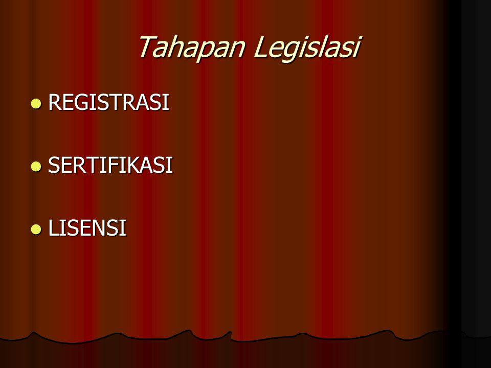 Tahapan Legislasi REGISTRASI REGISTRASI SERTIFIKASI SERTIFIKASI LISENSI LISENSI