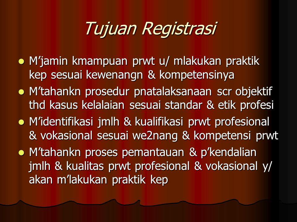 Tujuan Registrasi M'jamin kmampuan prwt u/ mlakukan praktik kep sesuai kewenangn & kompetensinya M'jamin kmampuan prwt u/ mlakukan praktik kep sesuai