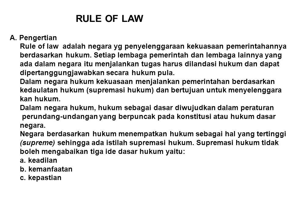 RULE OF LAW A. Pengertian Rule of law adalah negara yg penyelenggaraan kekuasaan pemerintahannya berdasarkan hukum. Setiap lembaga pemerintah dan lemb