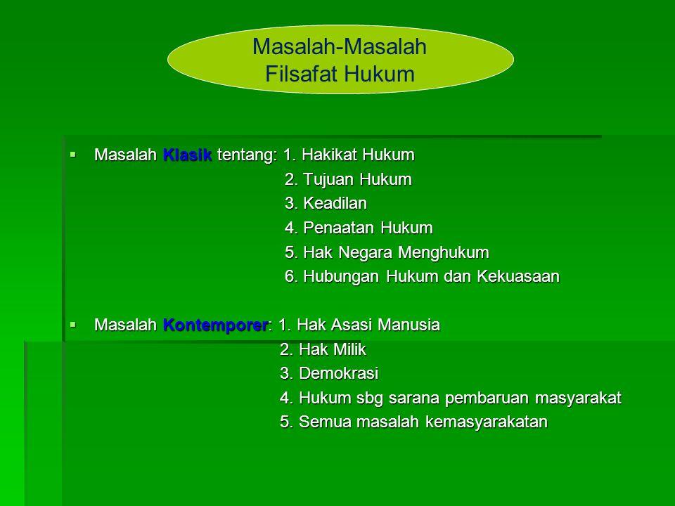  Masalah Klasik tentang: 1. Hakikat Hukum 2. Tujuan Hukum 2. Tujuan Hukum 3. Keadilan 3. Keadilan 4. Penaatan Hukum 4. Penaatan Hukum 5. Hak Negara M