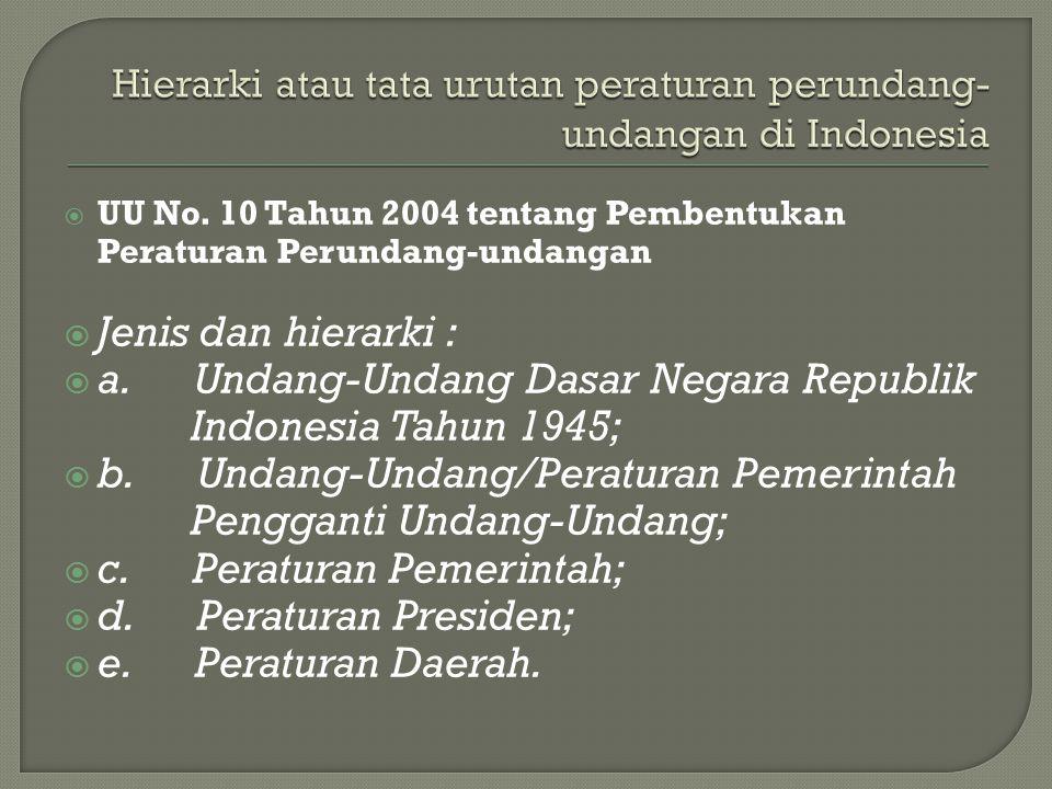  UU No. 10 Tahun 2004 tentang Pembentukan Peraturan Perundang-undangan  Jenis dan hierarki :  a. Undang-Undang Dasar Negara Republik Indonesia Tahu