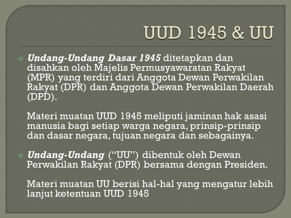  Undang-Undang Dasar 1945 ditetapkan dan disahkan oleh Majelis Permusyawaratan Rakyat (MPR) yang terdiri dari Anggota Dewan Perwakilan Rakyat (DPR) dan Anggota Dewan Perwakilan Daerah (DPD).