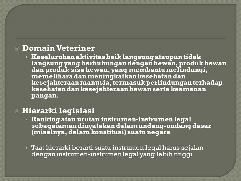  Domain Veteriner Keseluruhan aktivitas baik langsung ataupun tidak langsung yang berhubungan dengan hewan, produk hewan dan produk sisa hewan, yang membantu melindungi, memelihara dan meningkatkan kesehatan dan kesejahteraan manusia, termasuk perlindungan terhadap kesehatan dan kesejahteraan hewan serta keamanan pangan.