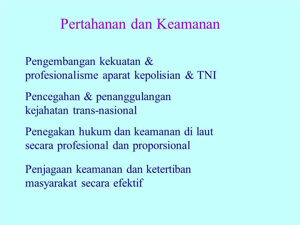 Pertahanan dan Keamanan Pengembangan kekuatan & profesionalisme aparat kepolisian & TNI Pencegahan & penanggulangan kejahatan trans-nasional Penegakan
