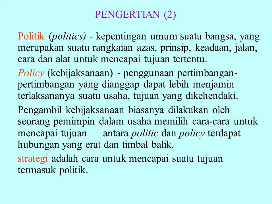 PENGERTIAN (2) Politik (politics) - kepentingan umum suatu bangsa, yang merupakan suatu rangkaian azas, prinsip, keadaan, jalan, cara dan alat untuk m
