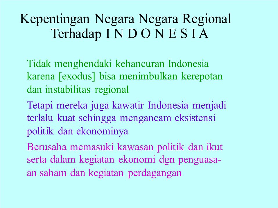 Trans National EKSTERNAL PROBLEMS INTERNAL PROBLEMS Crimes and TERRORISM T OO BIG VARIETIES &TOO BIG and Transition to Democracy Inadequate Politics and Management of Indonesia 1 5 Perkembangan lingkungan nasional: Constrains and Disadvantage