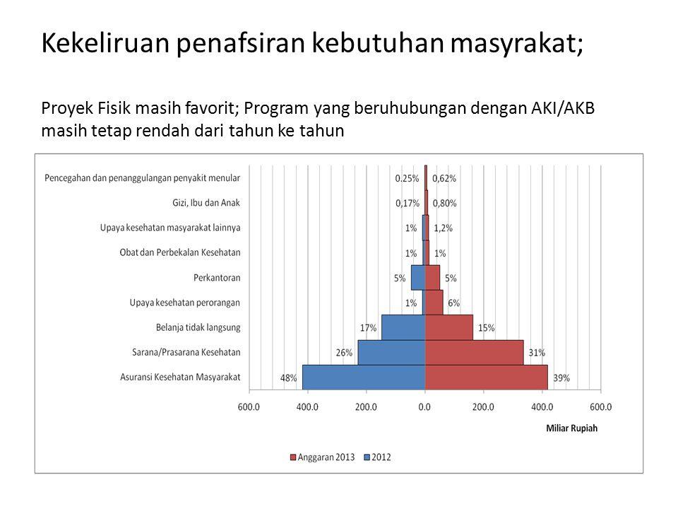 Kekeliruan penafsiran kebutuhan masyrakat; Proyek Fisik masih favorit; Program yang beruhubungan dengan AKI/AKB masih tetap rendah dari tahun ke tahun