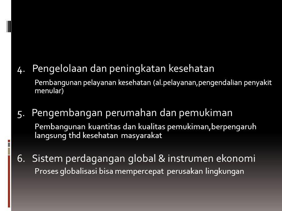 4. Pengelolaan dan peningkatan kesehatan Pembangunan pelayanan kesehatan (al.pelayanan,pengendalian penyakit menular) 5. Pengembangan perumahan dan pe