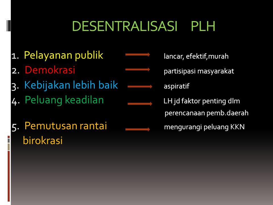 DESENTRALISASI PLH 1.Pelayanan publik lancar, efektif,murah 2.