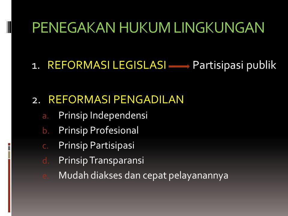 PENEGAKAN HUKUM LINGKUNGAN 1.REFORMASI LEGISLASI Partisipasi publik 2.