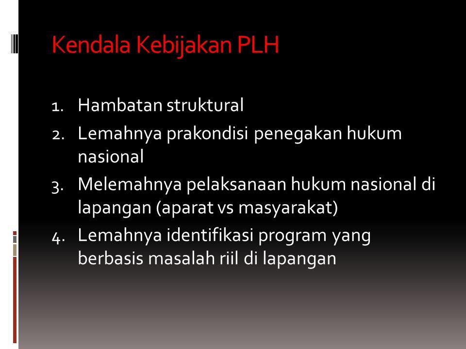 Kendala Kebijakan PLH 1.Hambatan struktural 2. Lemahnya prakondisi penegakan hukum nasional 3.