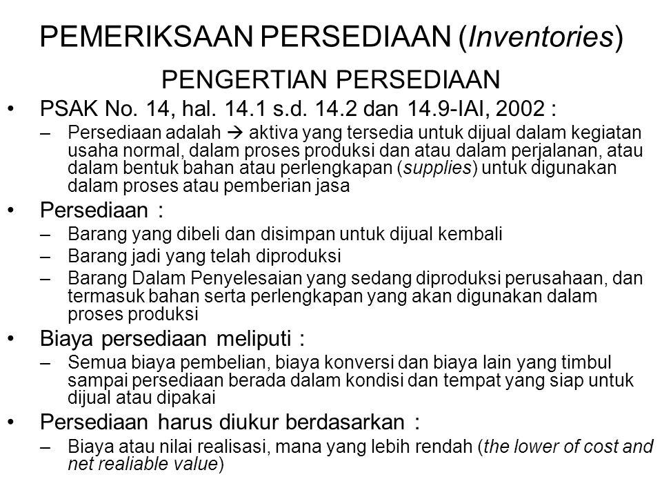 PEMERIKSAAN PERSEDIAAN (Inventories) PENGERTIAN PERSEDIAAN PSAK No. 14, hal. 14.1 s.d. 14.2 dan 14.9-IAI, 2002 : –Persediaan adalah  aktiva yang ters