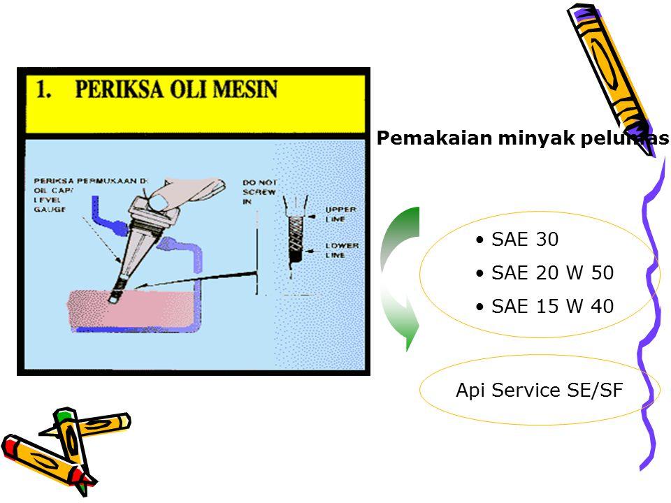 Pemakaian minyak pelumas SAE 30 SAE 20 W 50 SAE 15 W 40 Api Service SE/SF