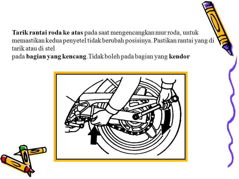 Prosedur penyetelan rantai roda Kendorkan poros roda belakang. Kendorkan mur pengunci (adjuster loct nut). Putar mur penyetel (cub) atau baut penyetel