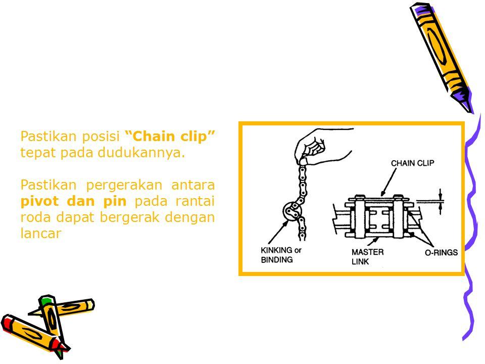 """Pemasangan """"Chain Clip"""" pada rantai yang terdapat sambungan harus berlawanan dengan arah putaran rantai roda"""