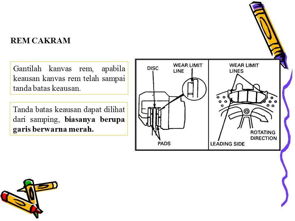 """PEMERIKSAAN KEAUSAN KANVAS REM REM TROMOL Jika tanda pada brake panel telah menunjukkan atau melebihi tanda """"Δ"""" pada saat di rem, bukalah brake panel"""