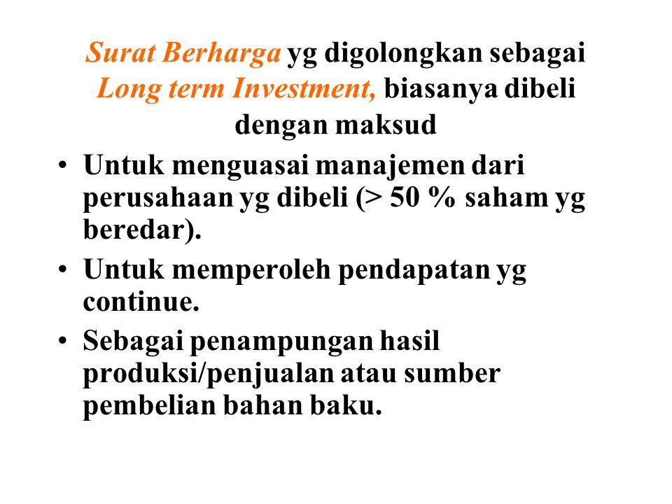 Surat Berharga yg digolongkan sebagai Long term Investment, biasanya dibeli dengan maksud Untuk menguasai manajemen dari perusahaan yg dibeli (> 50 % saham yg beredar).