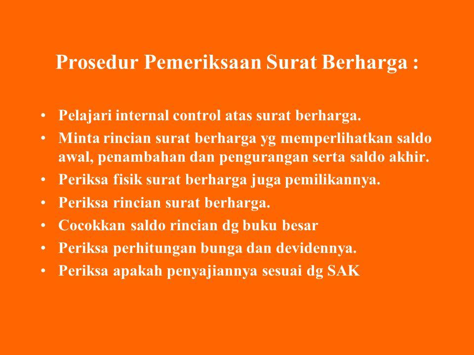 Prosedur Pemeriksaan Surat Berharga : Pelajari internal control atas surat berharga.