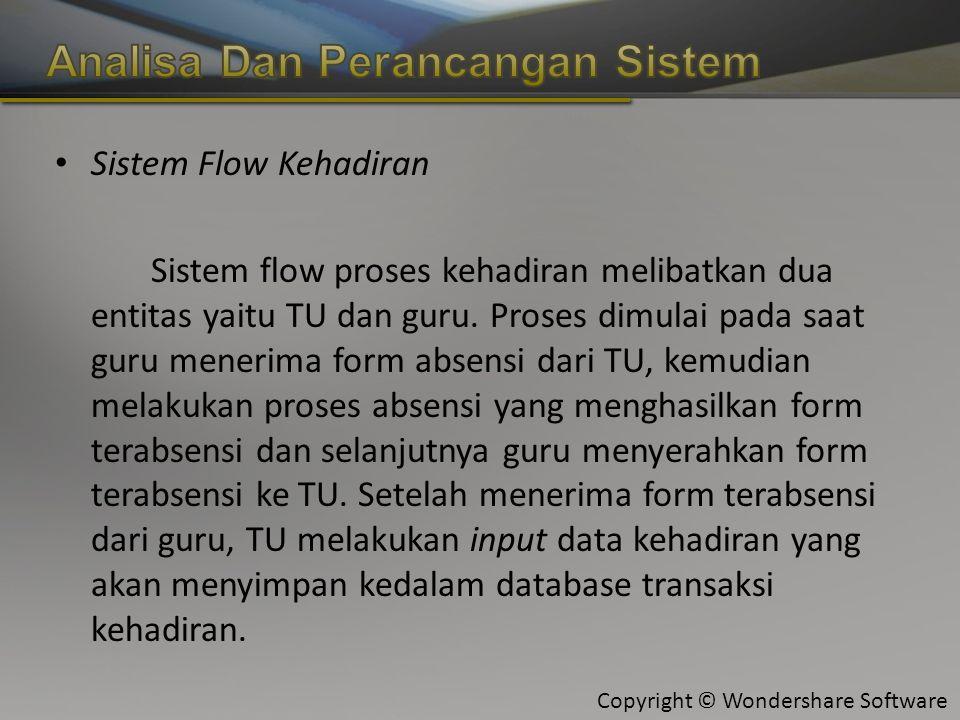Copyright © Wondershare Software Sistem Flow Kehadiran Sistem flow proses kehadiran melibatkan dua entitas yaitu TU dan guru.