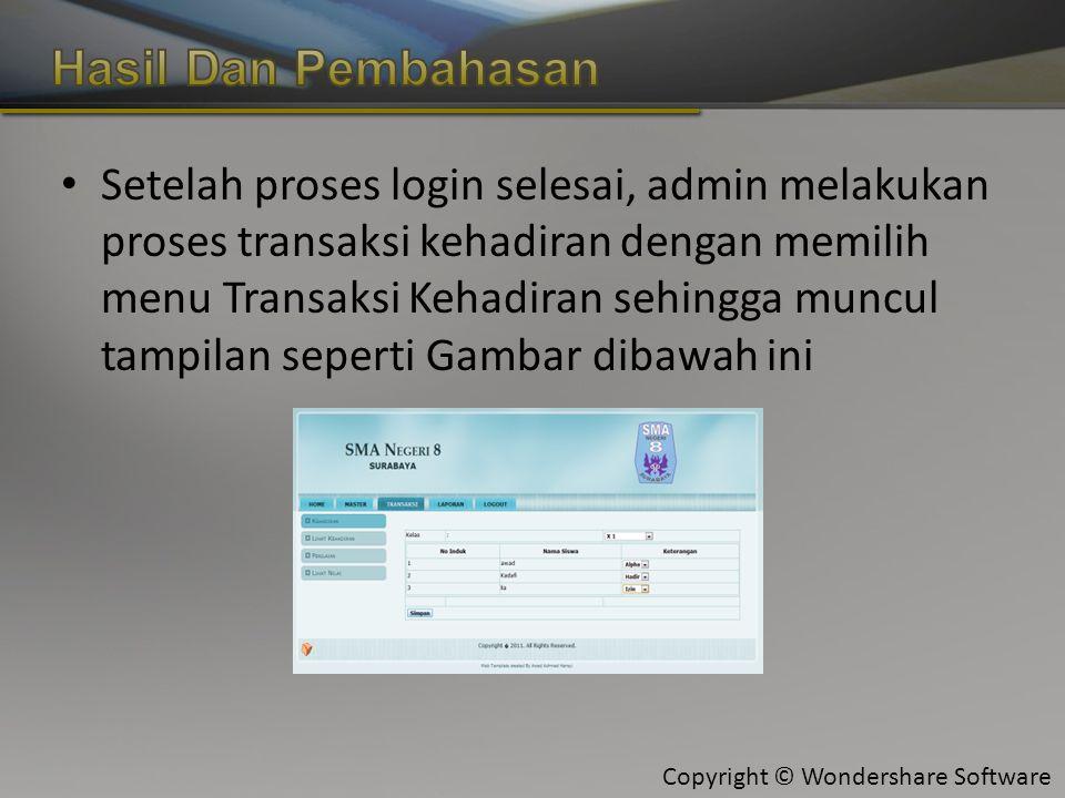 Copyright © Wondershare Software Setelah proses login selesai, admin melakukan proses transaksi kehadiran dengan memilih menu Transaksi Kehadiran sehingga muncul tampilan seperti Gambar dibawah ini