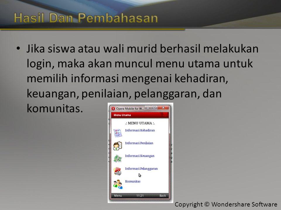 Copyright © Wondershare Software Jika siswa atau wali murid berhasil melakukan login, maka akan muncul menu utama untuk memilih informasi mengenai kehadiran, keuangan, penilaian, pelanggaran, dan komunitas.