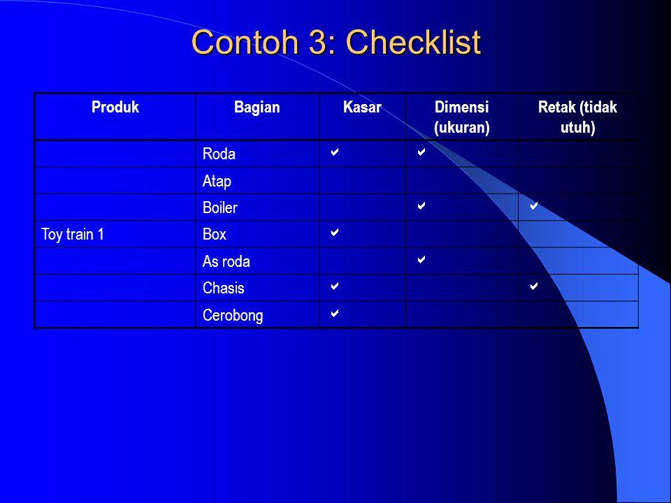 Contoh 3: Checklist ProdukBagianKasarDimensi (ukuran) Retak (tidak utuh) Roda  Atap Boiler  Toy train 1Box  As roda  Chasis  Cerobong 