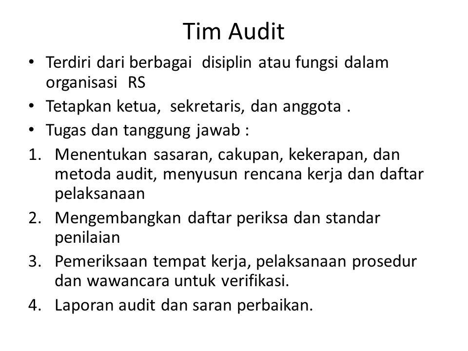 Tim Audit Terdiri dari berbagai disiplin atau fungsi dalam organisasi RS Tetapkan ketua, sekretaris, dan anggota.