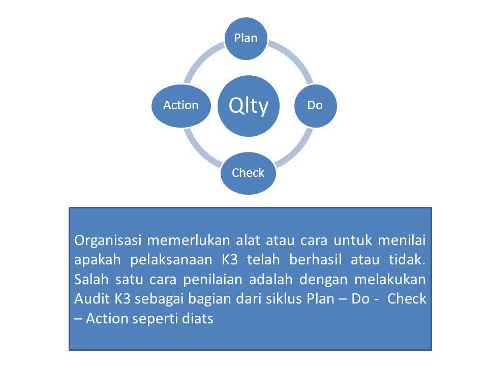Qlty PlanDoCheckAction Organisasi memerlukan alat atau cara untuk menilai apakah pelaksanaan K3 telah berhasil atau tidak.