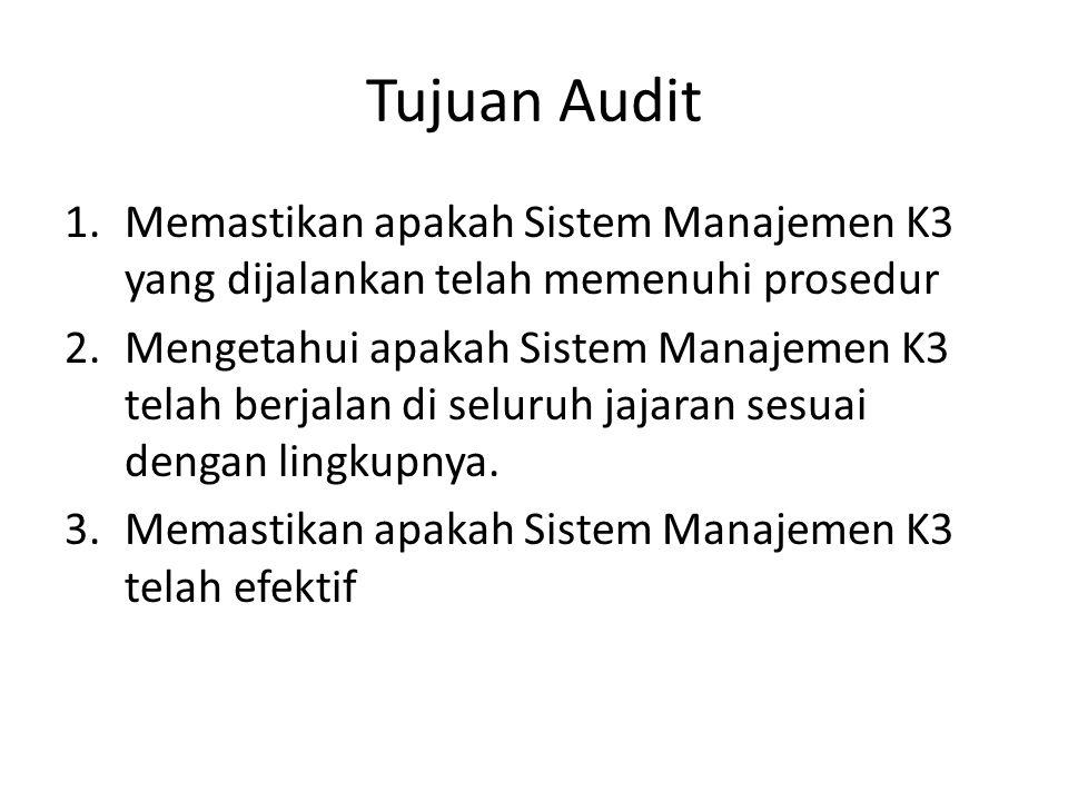 Tujuan Audit 1.Memastikan apakah Sistem Manajemen K3 yang dijalankan telah memenuhi prosedur 2.Mengetahui apakah Sistem Manajemen K3 telah berjalan di seluruh jajaran sesuai dengan lingkupnya.