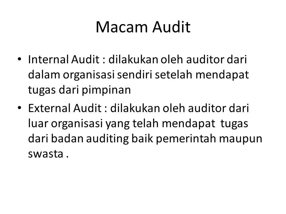 Macam Audit Internal Audit : dilakukan oleh auditor dari dalam organisasi sendiri setelah mendapat tugas dari pimpinan External Audit : dilakukan oleh auditor dari luar organisasi yang telah mendapat tugas dari badan auditing baik pemerintah maupun swasta.