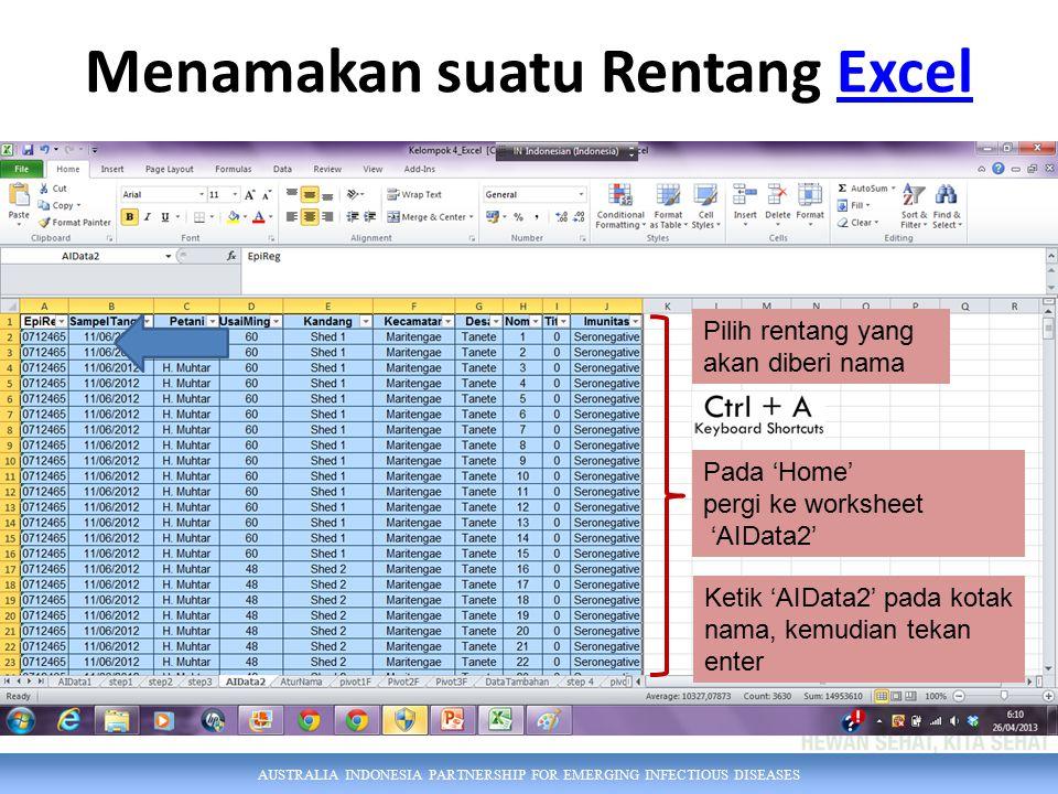 AUSTRALIA INDONESIA PARTNERSHIP FOR EMERGING INFECTIOUS DISEASES Menamakan suatu Rentang ExcelExcel Pilih rentang yang akan diberi nama Pada 'Home' pergi ke worksheet 'AIData2' Ketik 'AIData2' pada kotak nama, kemudian tekan enter