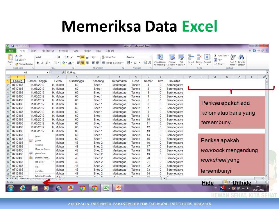 AUSTRALIA INDONESIA PARTNERSHIP FOR EMERGING INFECTIOUS DISEASES Memeriksa Data Excel Periksa apakah workbook mengandung worksheet yang tersembunyi Periksa apakah ada kolom atau baris yang tersembunyi HideUnhide