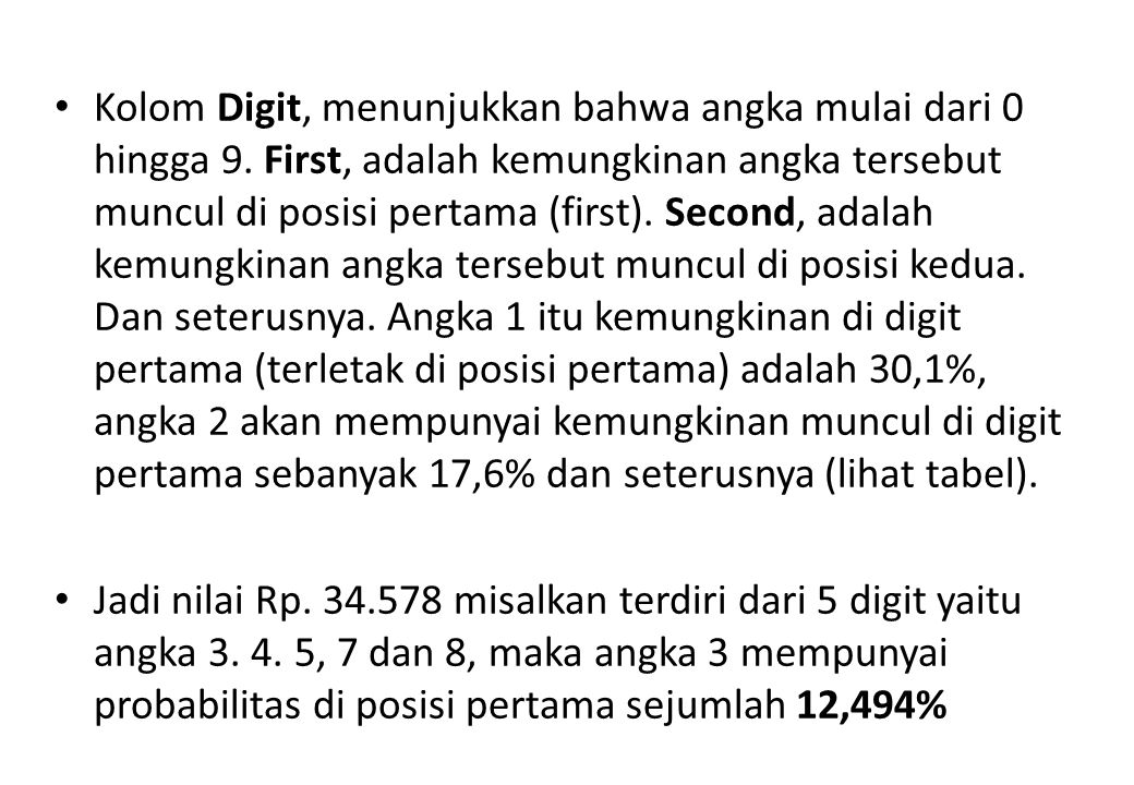 Kolom Digit, menunjukkan bahwa angka mulai dari 0 hingga 9. First, adalah kemungkinan angka tersebut muncul di posisi pertama (first). Second, adalah
