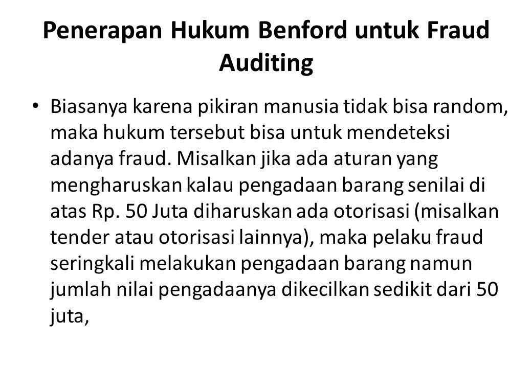 Penerapan Hukum Benford untuk Fraud Auditing Biasanya karena pikiran manusia tidak bisa random, maka hukum tersebut bisa untuk mendeteksi adanya fraud