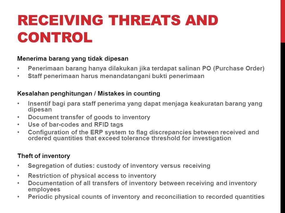 RECEIVING THREATS AND CONTROL Menerima barang yang tidak dipesan Penerimaan barang hanya dilakukan jika terdapat salinan PO (Purchase Order) Staff pen