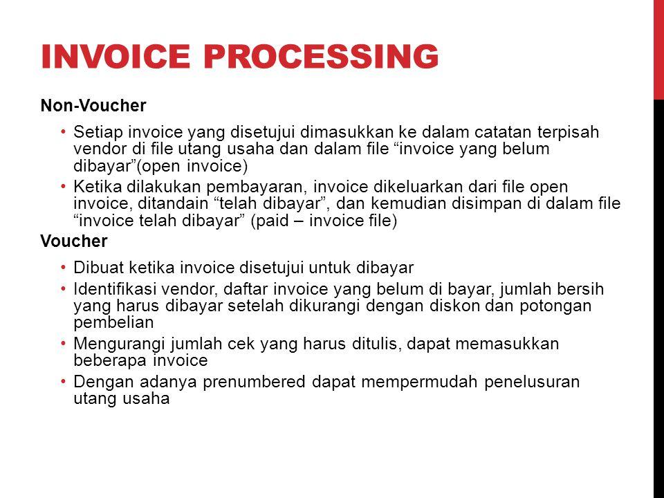"""INVOICE PROCESSING Non-Voucher Setiap invoice yang disetujui dimasukkan ke dalam catatan terpisah vendor di file utang usaha dan dalam file """"invoice y"""