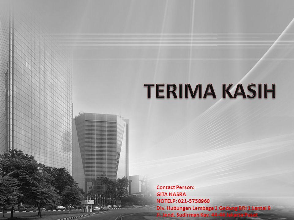 Contact Person: GITA NASRA NOTELP: 021-5758960 Div. Hubungan Lembaga 1 Gedung BRI 1 Lantai 9 Jl. Jend. Sudirman Kav. 44-46 Jakarta Pusat