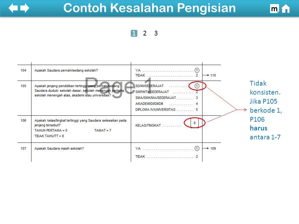 Tidak konsisten. Jika P105 berkode 1, P106 harus antara 1-7 100% Contoh Kesalahan Pengisian m